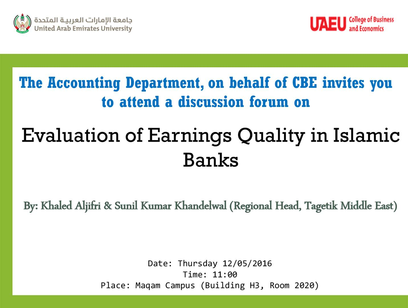Evaluation of Earnings Quality in Islamic Banks